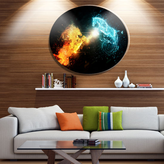 Designart Fire and Water Abstract Horses Ultra Glossy Animal Oversized Metal Circle Wall Art