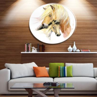 Designart Horse Mom Baby Watercolor Ultra Glossy Animal Oversized Metal Circle Wall Art