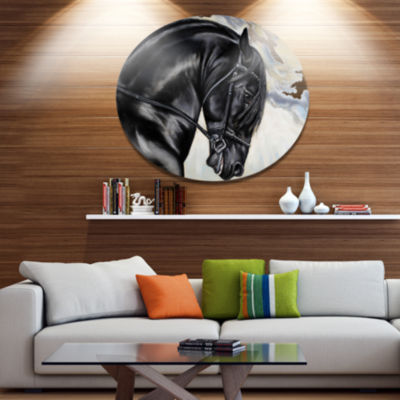 Designart Friesian Horse Painting Ultra Glossy Animal Oversized Metal Circle Wall Art