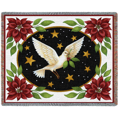 Dove And Poinsettias Blanket