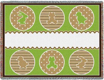 Animal Friends Green Blanket
