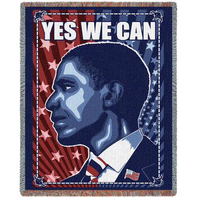 Yes We Can Obama Profile Blanket