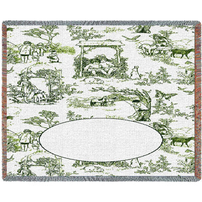 Childhood Toile Green Mini Blanket