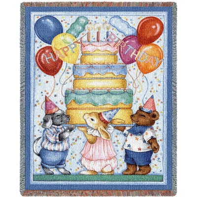 Happy Birthday Tapestry Mini Blanket