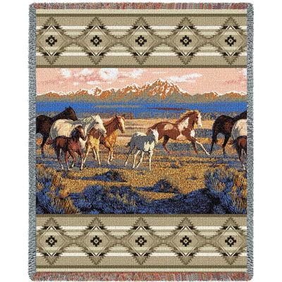 Wild Horses Beige Tapestry Blanket