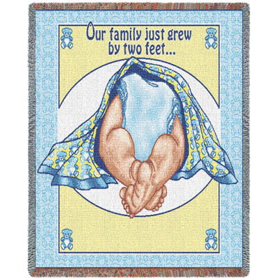 Two Feet Blue and White Mini Blanket