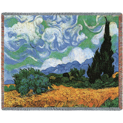 Wheat Field with Cypresses Blanket
