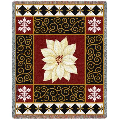 White Poinsettia Blanket
