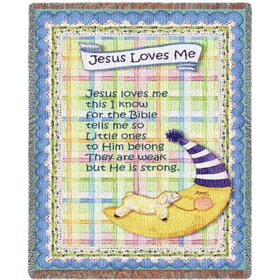 Jesus Loves Me Blue Border Small Blanket