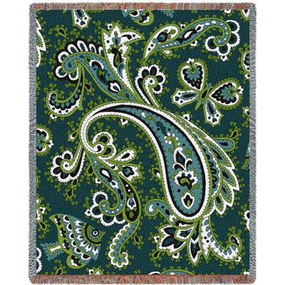 Paisley Teal Tapestry Blanket