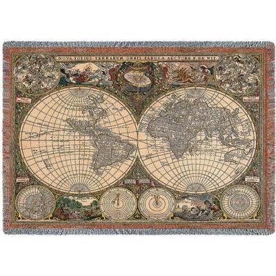 Old World Map Blanket