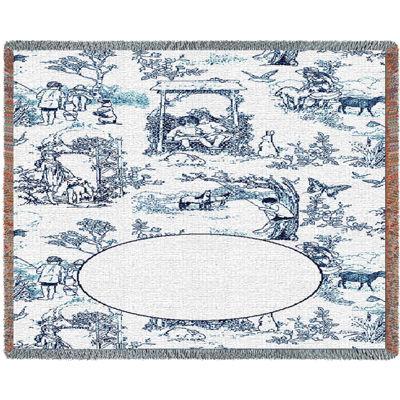 Childhood Toile Blue Mini Blanket