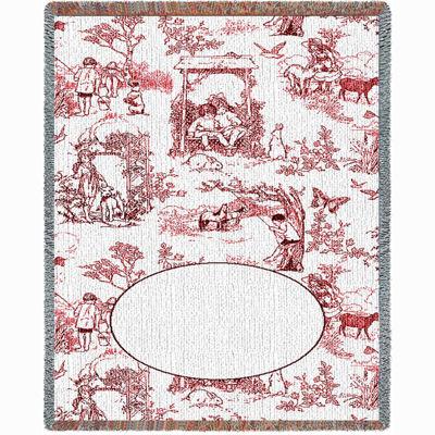 Childhood Toile Red Mini Blanket