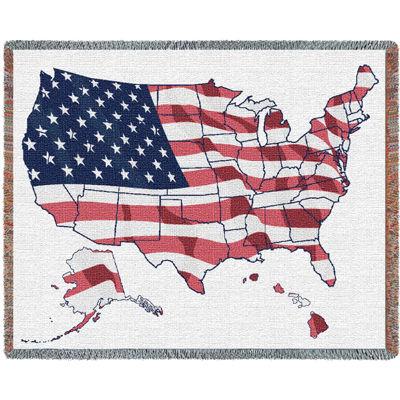 United States Flag Map Blanket