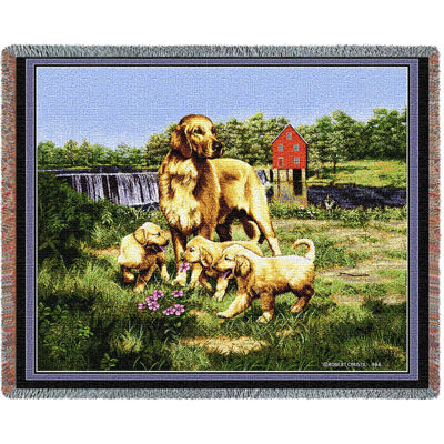 Golden Retriever with Puppies Blanket