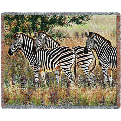 Three Zebra Group Blanket