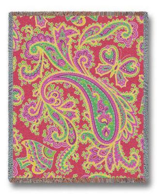 Paisley Pink Tapestry Blanket