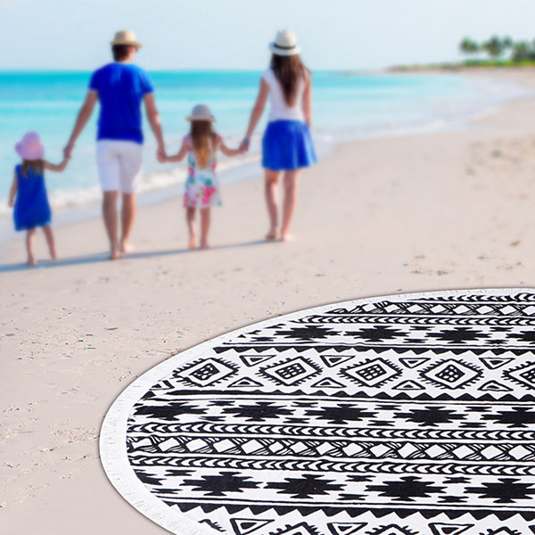 Tribal Beat Round Beach Towel