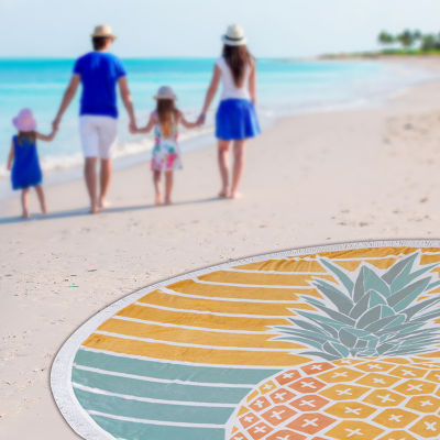 Pineapple Waves Round Beach Towel