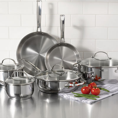 Oneida 10pc Ss Cook Set 10-pc. Stainless Steel Dishwasher Safe Cookware Set