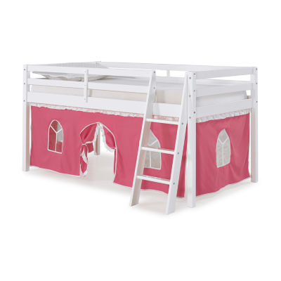 Roxy Twin Junior White Loft Bed with Pink and White Tent