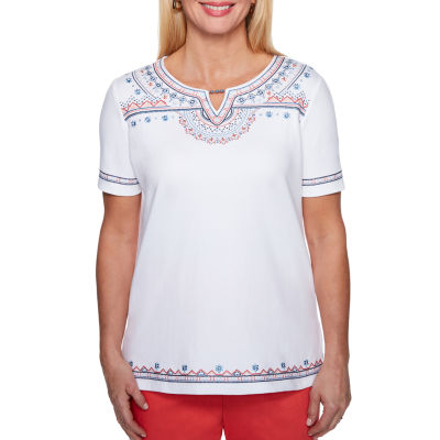Alfred Dunner Sun City Short Sleeve Split Crew Neck T-Shirt-Womens