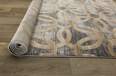 Contemporary Circle Design High-Low Texture Area Rug
