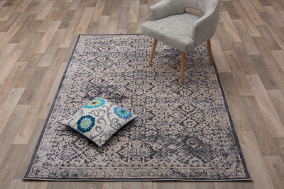 Transitional Distressed High-Low Texture Area Rug