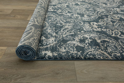 Transitional Distressed Floral Design High-Low Texture Area Rug
