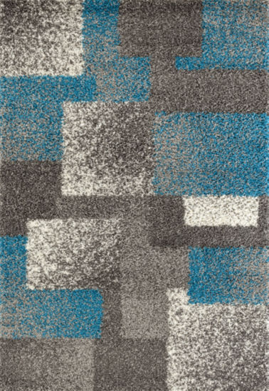 Contemporary Geometric Boxes Shag Area Rug