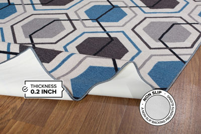 Contemporary Geometric Stripe Non-Slip Non-Skid Area Rug