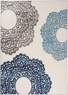 Contemporary Large Floral Non-Slip Non-Skid Runner