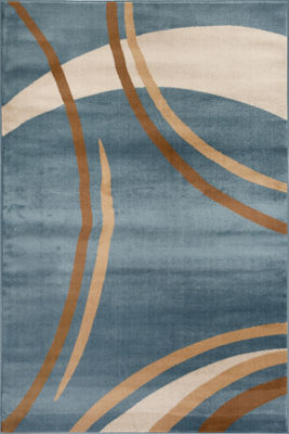 Contemporary Modern Wavy Circles Area Rug