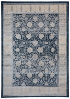 Traditional Oriental Border High-Low Texture Area Rug