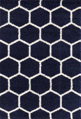Geometric Honeycomb Shag Area Rug