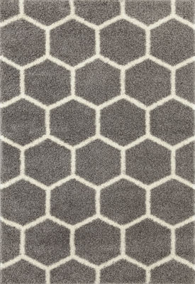 Geometric Honeycomb Shag Area Rug