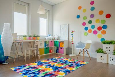 Kids Modern Bright Boxes Design Non-Slip Non-Skid Area Rug