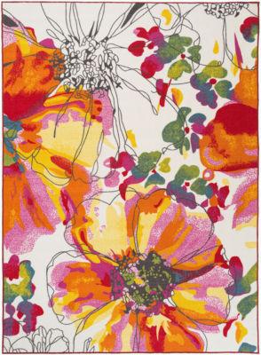 Modern Bright Flowers Non-Slip Non-Skid Area Rug