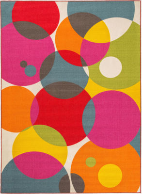 World Rug Gallery Modern Contemporary Circles Non-Skid Rectangular Rugs