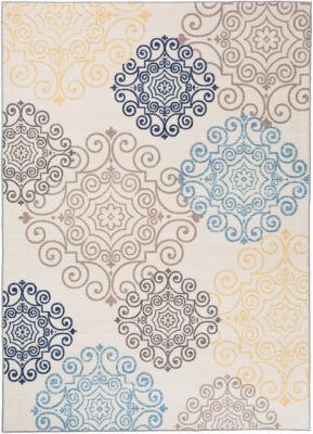 Modern Floral Swirl Design 2'x3' Non-Slip Non-Skid Rug
