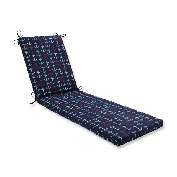 Pillow Perfect Outdoor / Indoor Anchor Allover Arbor Navy Chaise Lounge Cushion 80x23x3