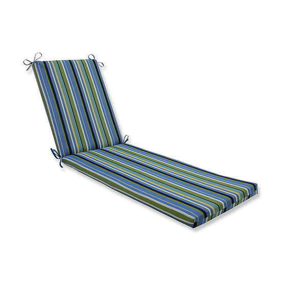 Pillow Perfect Outdoor / Indoor Topanga Stripe Lagoon Chaise Lounge Cushion 80x23x3