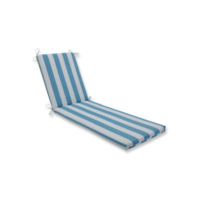 Pillow Perfect Outdoor / Indoor Cabana Stripe Turquoise Chaise Lounge Cushion 80x23x3