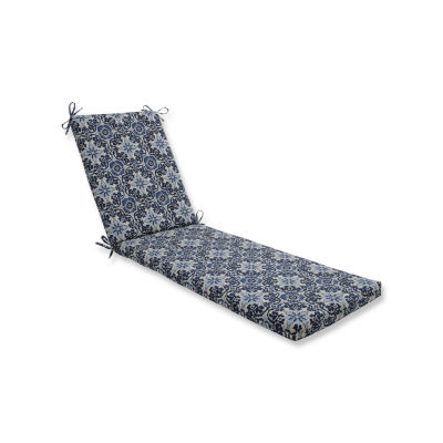 Pillow Perfect Outdoor / Indoor Woodblock Prism Blue Chaise Lounge Cushion 80x23x3