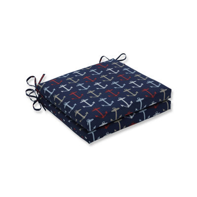 Pillow Perfect Outdoor / Indoor Anchor Allover Arbor Navy Squared Corners Seat Cushion 20x20x3 (Set of 2)