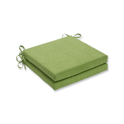 Pillow Perfect Outdoor / Indoor Baja Linen Lime Squared Corners Seat Cushion 20x20x3 (Set of 2)