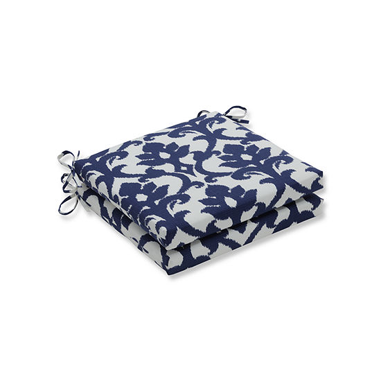 Pillow Perfect Outdoor / Indoor Basalto Navy Squared Corners Seat Cushion 20x20x3 (Set of 2)