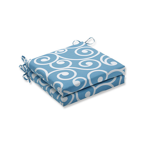 Pillow Perfect Outdoor / Indoor Best Turquoise Squared Corners Seat Cushion 20x20x3 (Set of 2)