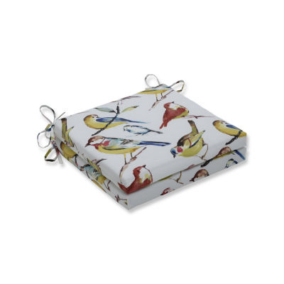 Pillow Perfect Outdoor / Indoor Bird Watchers Summer Squared Corners Seat Cushion 20x20x3 (Set of 2)
