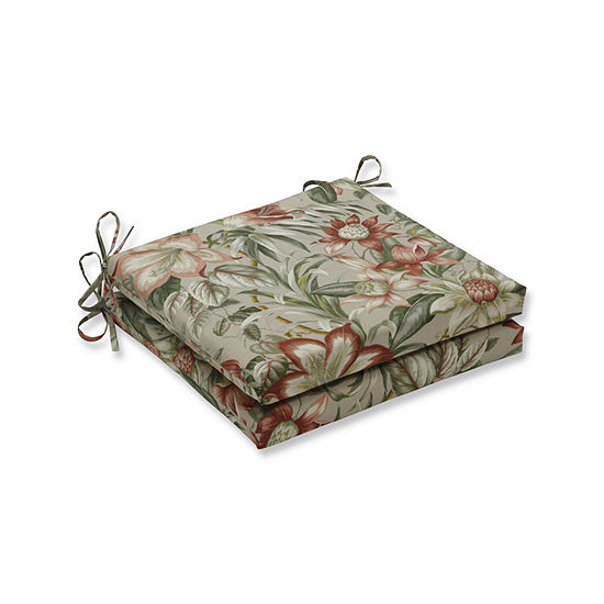 Pillow Perfect Outdoor / Indoor Botanical Glow Tiger Stripe Squared Corners Seat Cushion 20x20x3 (Set of 2)